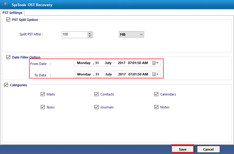 Export mails using date filter